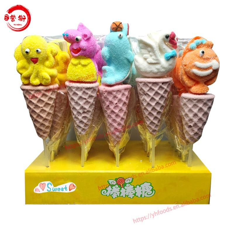 Icecream Cone Marshmallow Pop Cartoon Sweets Katoen Handgemaakte Versierd Snoep Sweets Lolly