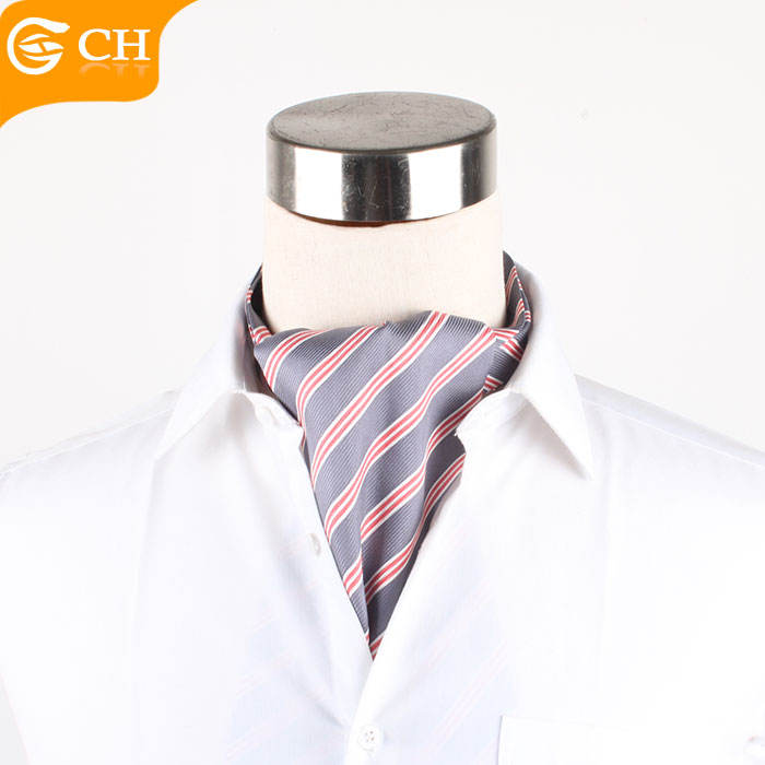 China Supplier Wholesale High Quality 100% Silk Striped Ascot Ties For Men