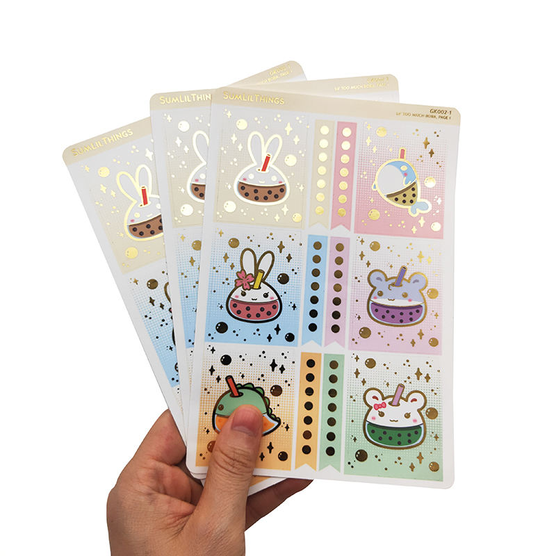 A4 A5 Gold Foil Customized Printing Adhesive Paper Kiss Cut Sticker Sheet For Promotional