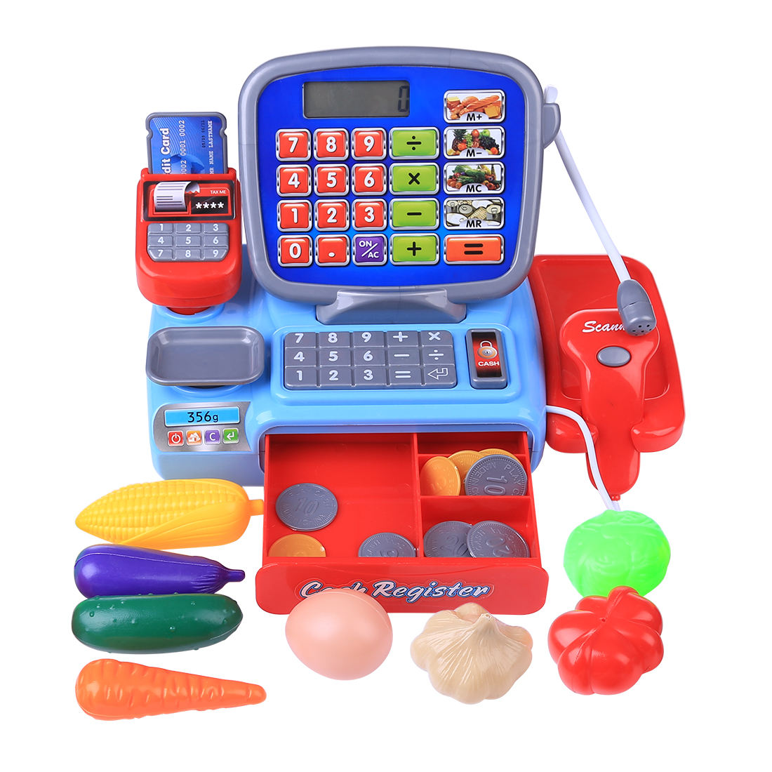 Children Pretend Play Toys Simulation Supermarket Cash Register Play Set for Kids Toddler