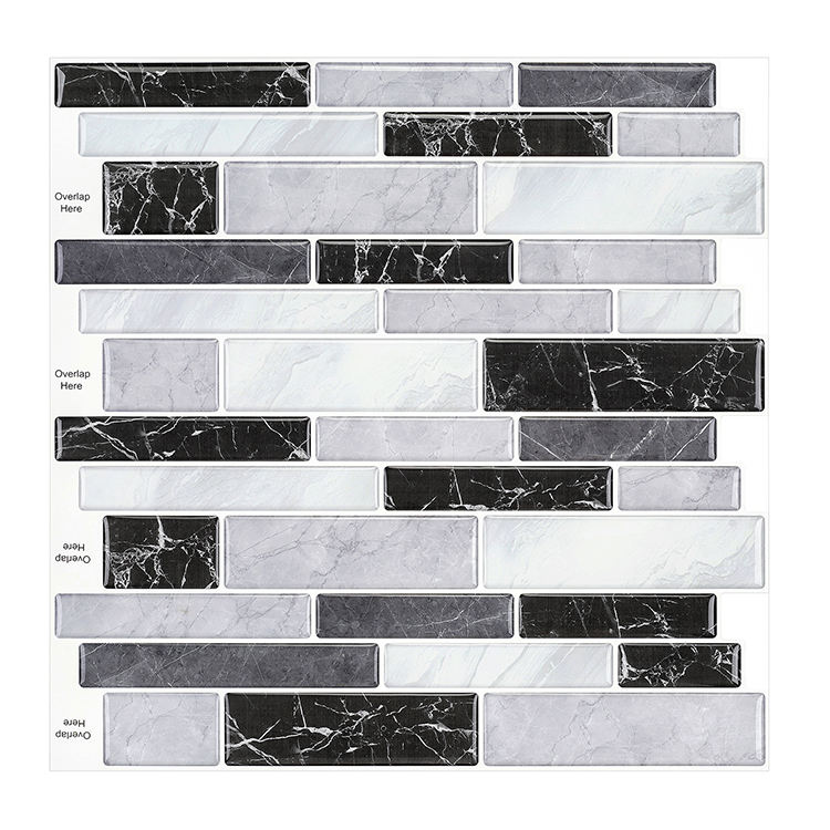 Hot sell in Amazon 3D wall tiles material kitchen bathroom peel and stick Marble tiles for home decor 12inch