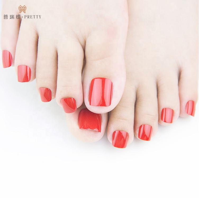 Red toe nails press on polish artificial toe nails tips supplier