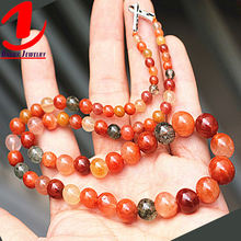 Wholesale fashion discount jewelry natural bead gemstone colorful rabbit hair necklace