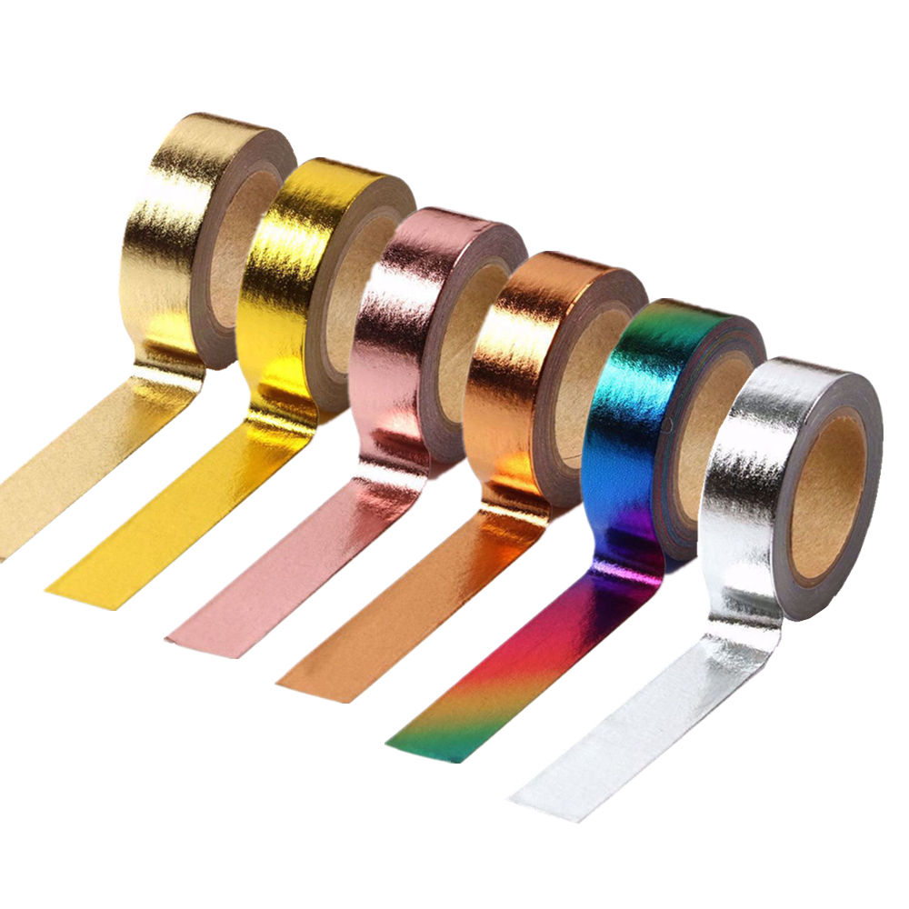 Solid Foil Washi Tape 15ミリメートルWidth 10メートルLength Colorful Paper Adhesive Masking Tapes Sticky Paper TapeためDIY Scrapbooking