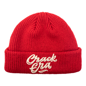 Custom red embroidery logo knitted fisherman beanie hat