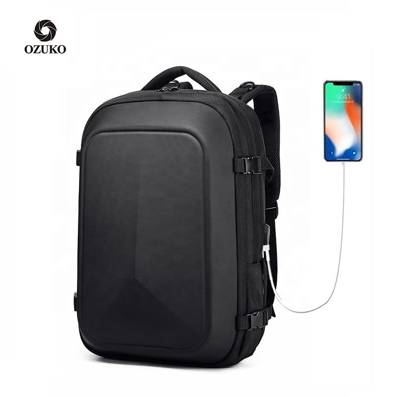 Ozuko New Custom Bag Manufacturer Waterproof Pvc Hard Shell Motorcycle Smart Laptop Backpack