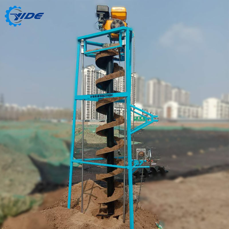 Gasoline pile driver tripod pole drilling rig earth auger screw piles machine with wheels