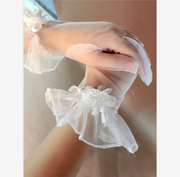 wedding accessories elegant simple flower embellished lace bridal gloves