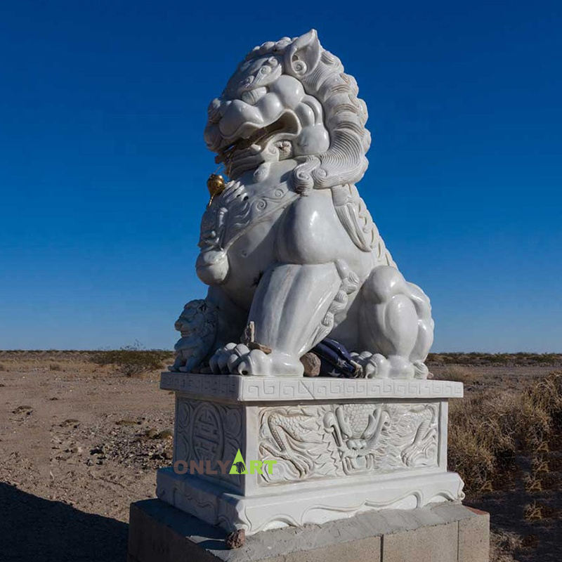 Classic Design Stone Marble Foo Dog Statue chinese lion