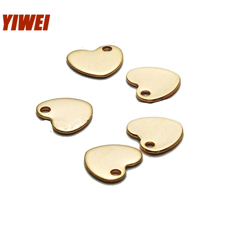 Factory Stainless steel heart shape metal alphabe customized engraved logo lucky tag charm