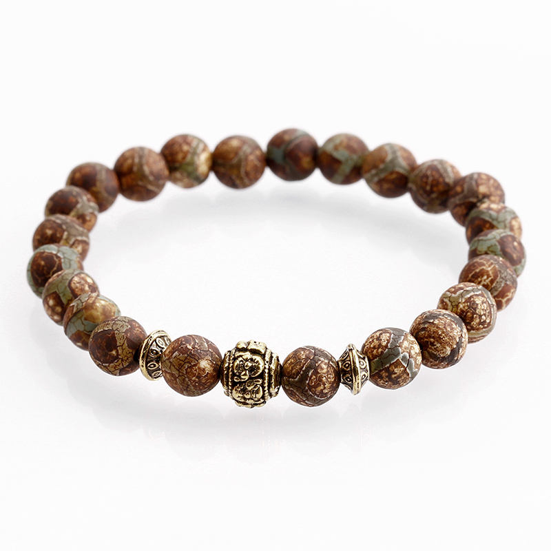 2019 factory wholesale diy 8mm natural stone bracelets tibetan DZI agate beaded bracelet women