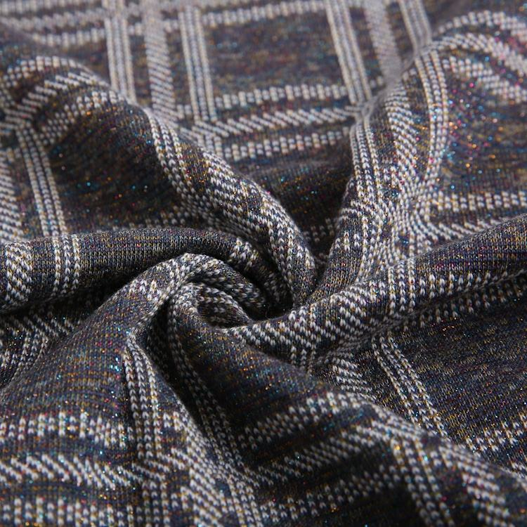 Weft textiles clothing knitting hacci polyester cotton yarn dye lurex fabric
