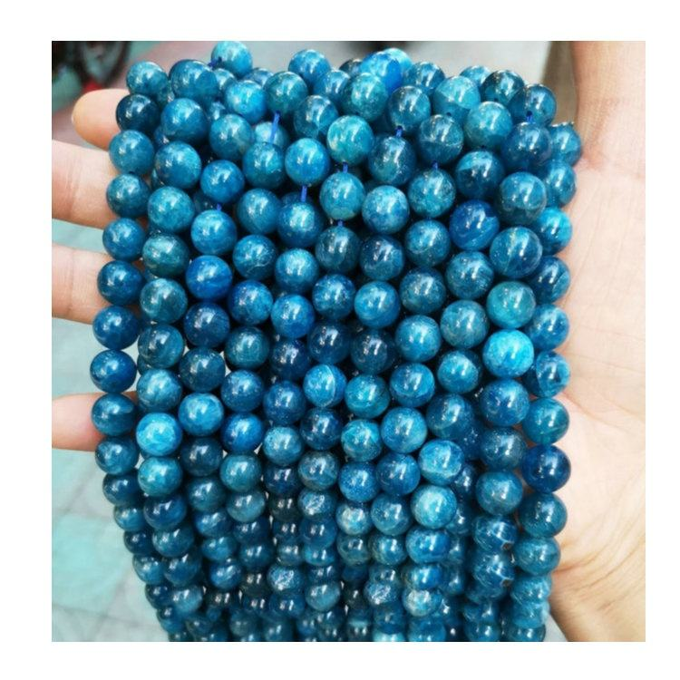 Natural Faceted Gemstone Round Loose Stone Rough Quartz Genuine Faceted 10Mm Blue Apatite Beads