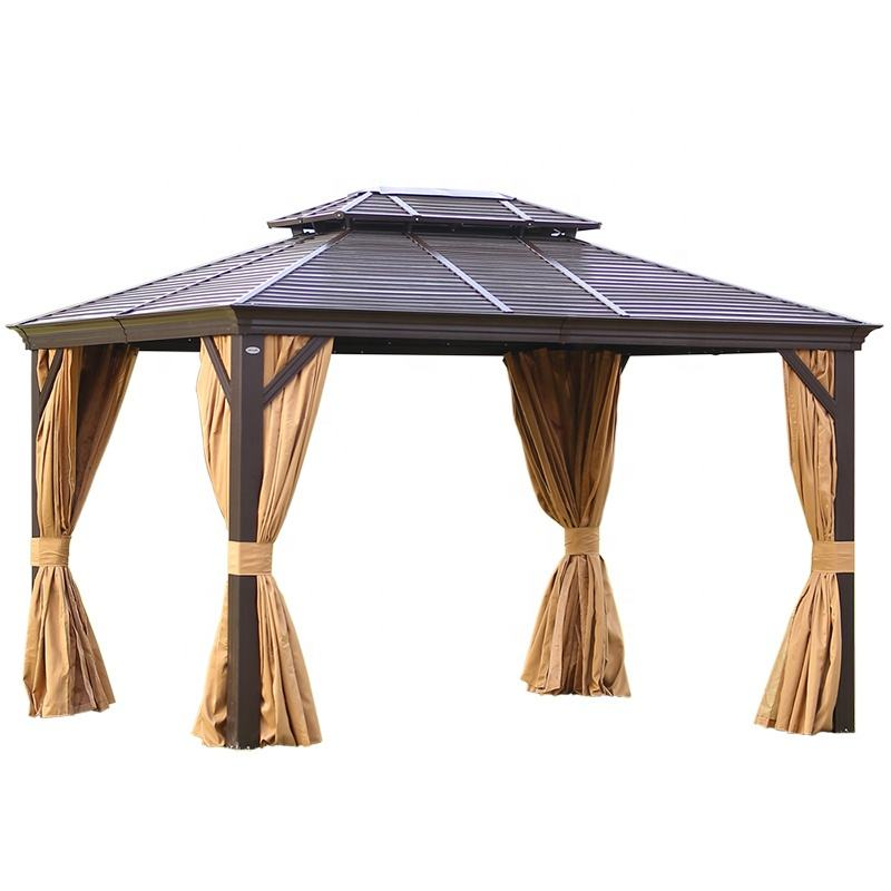 "Solid Roof Aluminium Gazebo Outdoor Garden Gazebos 3*4M Luxury"" Morden Party Galvanized Hardtop Metal Frame"