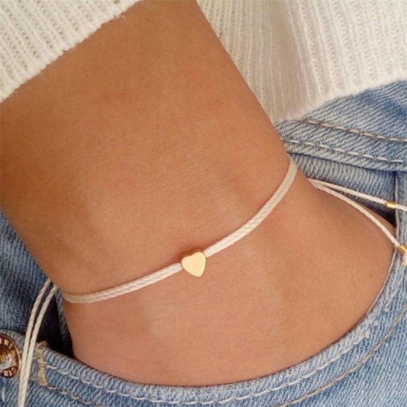 Fashion Simple Heart Charm Bracelet Handmade Rope Bracelet Adjustable Peach Heart Pendant Bracelet for Women Jewelry Accessories