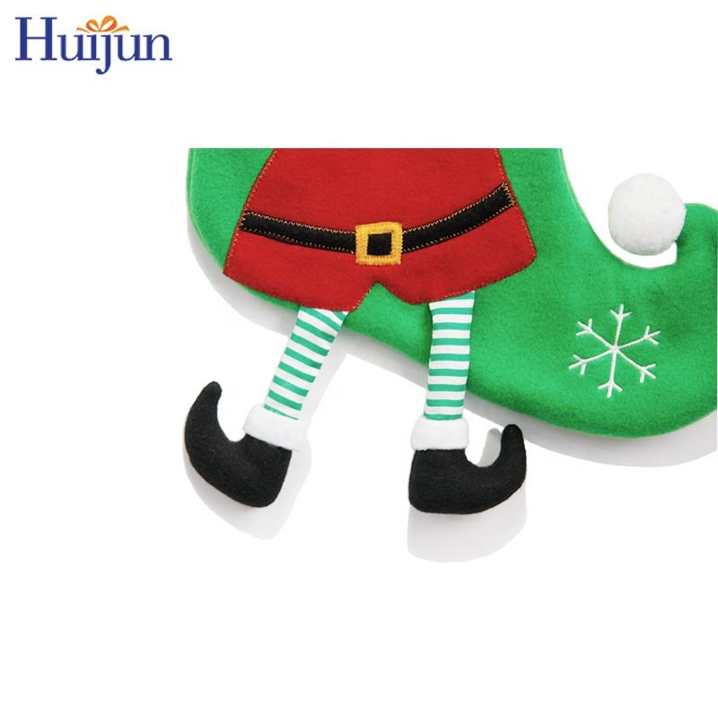 Decoration 2020 Lovely 3D Green Fleece Christmas Elf Stocking With Legs Wholesale Gift Bag Christmas Tree Decorations