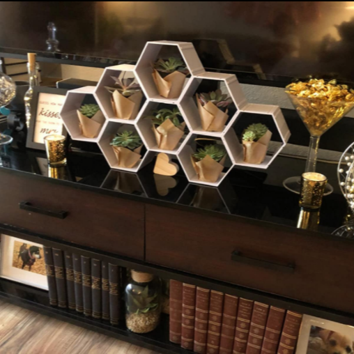 Create a variety of | cupcake shelves with different combinations of hexagonal shelves