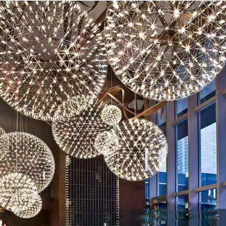 ZSW305 Stainless Spark fireworks led ball lights chandelier for wedding event ceiling decoration