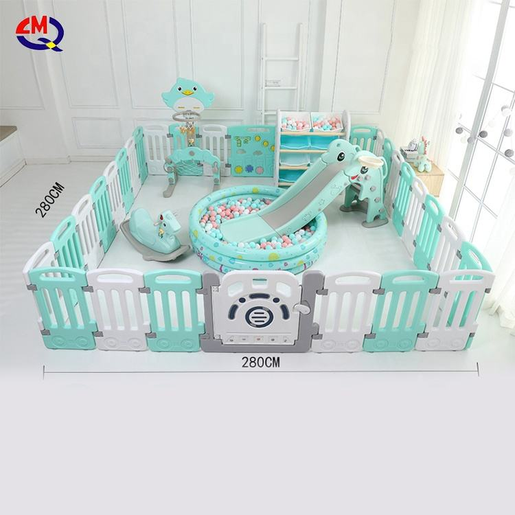 high quality children indoor play yard safety plastic kids folding fence baby playpen with slide swing toys