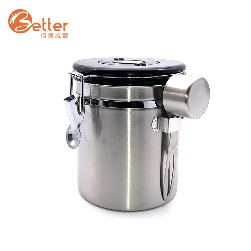 Best Airtight Metal Stainless Steel Kitchen Container Tea Sugar Coffee Bean Storage Canister Set with Scoop CO2 Valve Lid