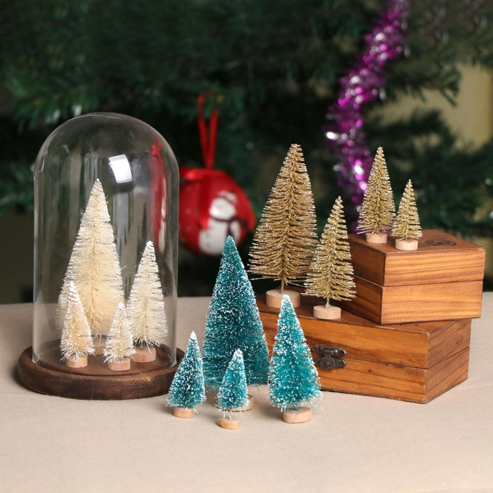 Ourwarm 8 pcs xmas decoration artificial mini snow pine tree christmas for tabletop decoration