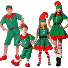 Hot selling christmas elves costumes Women Christmas Halloween Long Sleeve Green and Red Girl Elf Dress costume