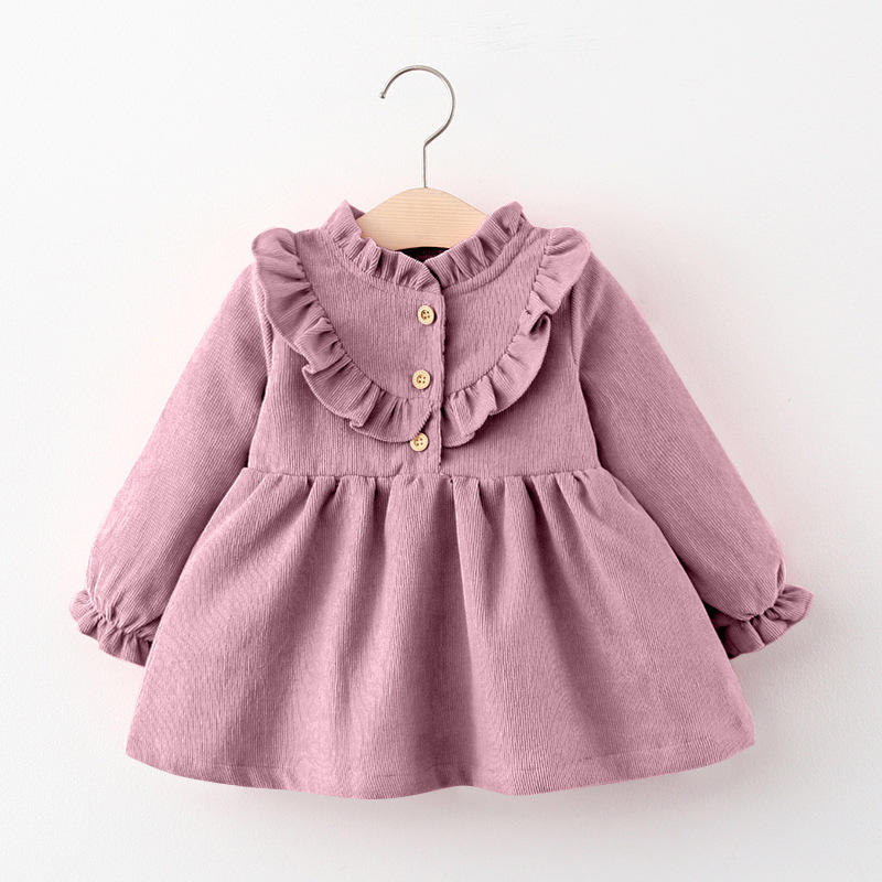 2020 Autumn pink strawberry baby girls' dresses cotton long sleeve party dress