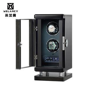2019 upgraded luxury wood safe box fingerprint gyro watch winder rotor mabuchi motor automatic watch winder led box