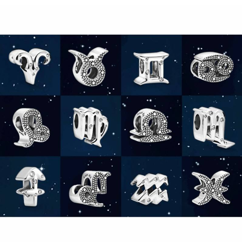 The new 12 zodiac signs Charms 925 Sterling silver Dangle Charms Bracelets Necklaces Wholesale jewelry factory