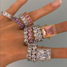 UK hot sale trendy hip hop jewelry yellow pink white square diamond ring icy zodiac jewelry luxury accessories for woman