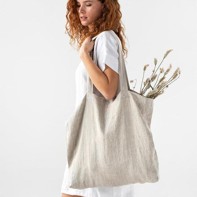 Large linen bag Linen tote bag Roomy linen grocery shopping bag customize