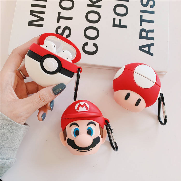 3D Earphone Case untuk Udara Pods Case Silikon Pantat Kucing Kartun Headphone/Earpods Cover untuk Apple Udara Pods 1/2 Case gantungan Kunci