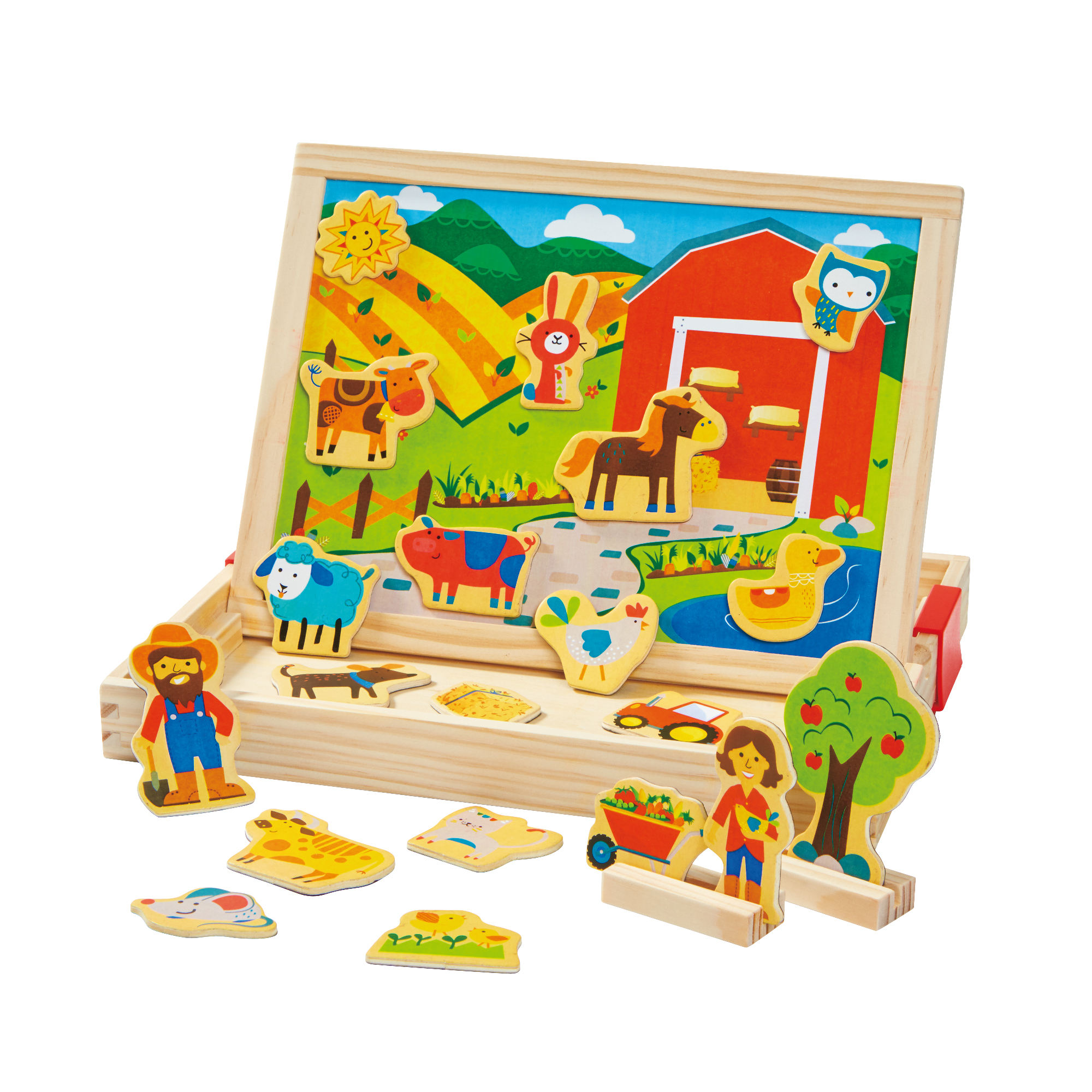 Toys Kids Cheap 2 in 1 wooden magnetic toys educational toy magnetic Farm and Dino Box