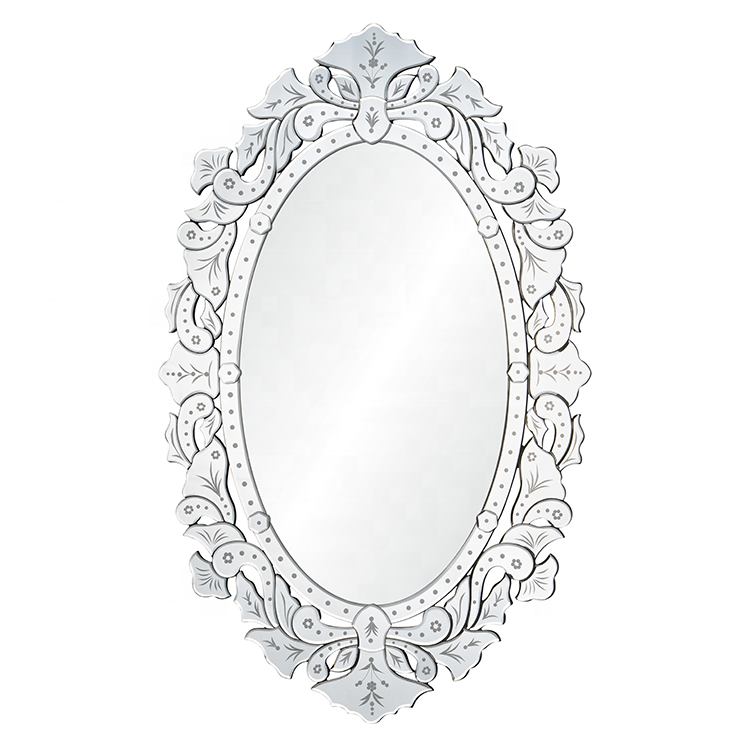 Excellent quality elegant white oval wooden wall mirror