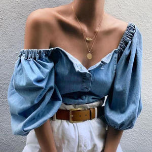 Spring Wholesale Long Lantern Sleeve Sexy Off The Shoulder Tops Women Denim Shirt