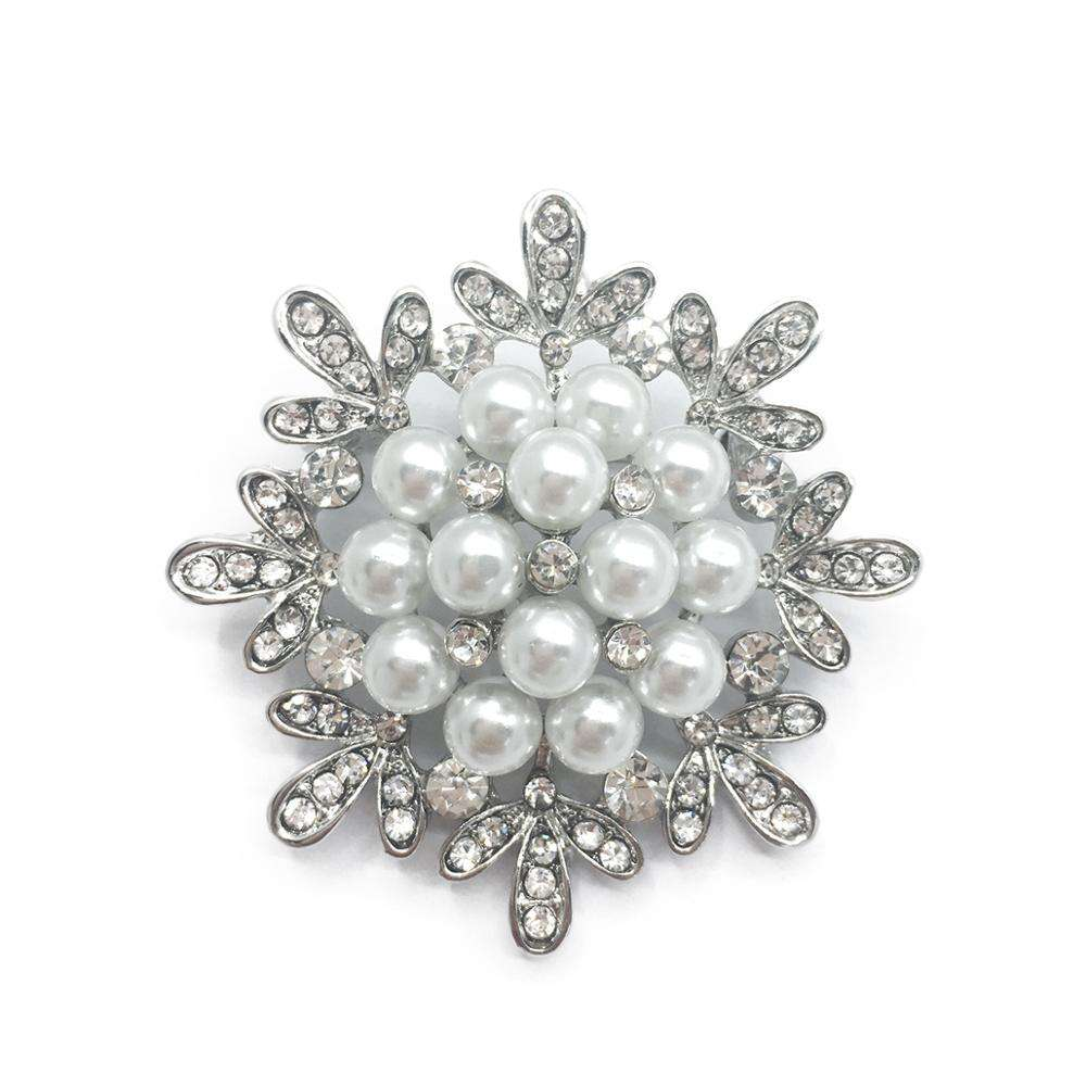 SIYWINA Flower Brooch Elegant Pearl Rhinestone Brooch Pin Vintage Clothing Decoration Jewellery Brooches for Women