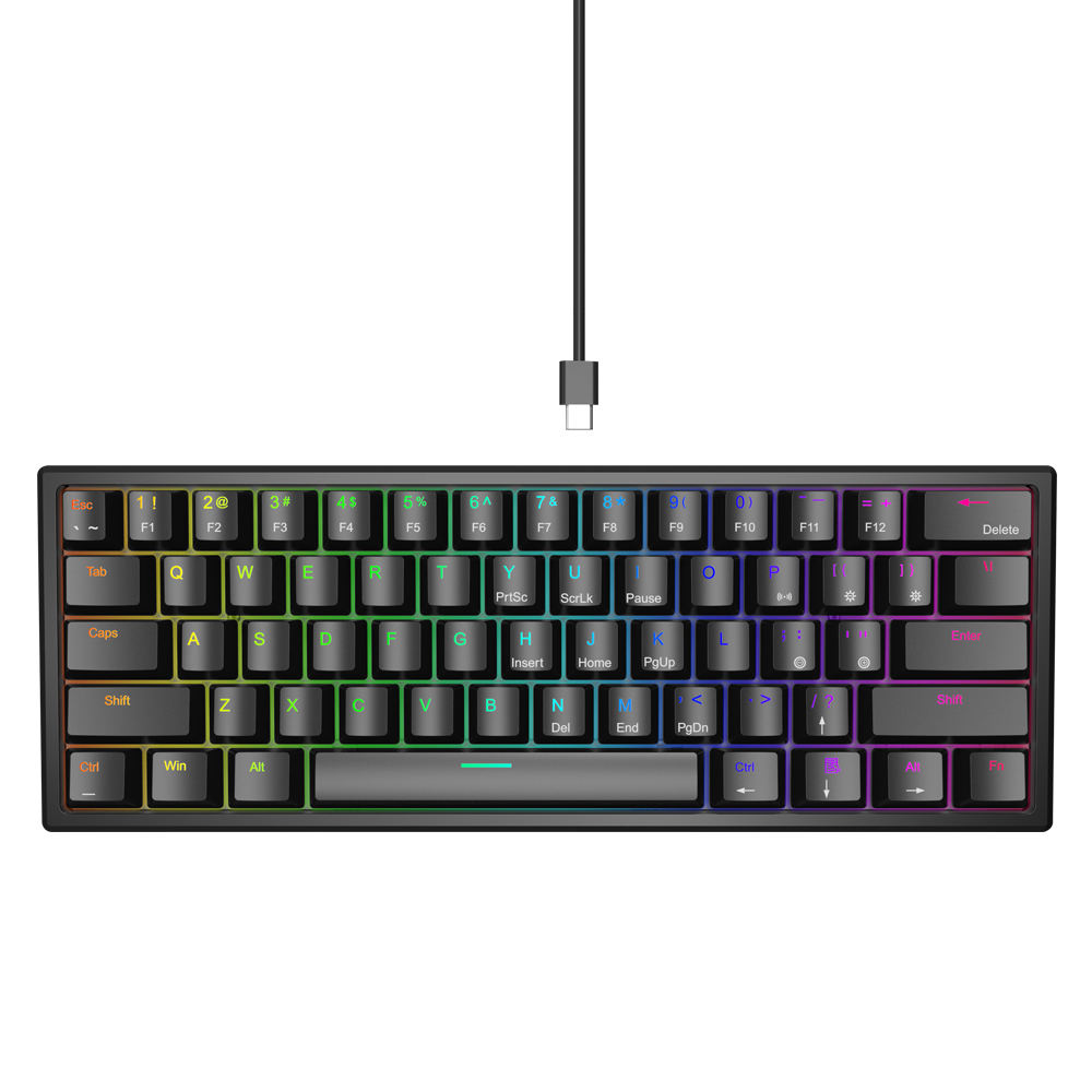 OEM 60% Gaming Keyboard Kompak 61 Keys RGB Backlit Wired/Wireless 3.0 Tipe-C Game dan Kantor Keyboard Membran