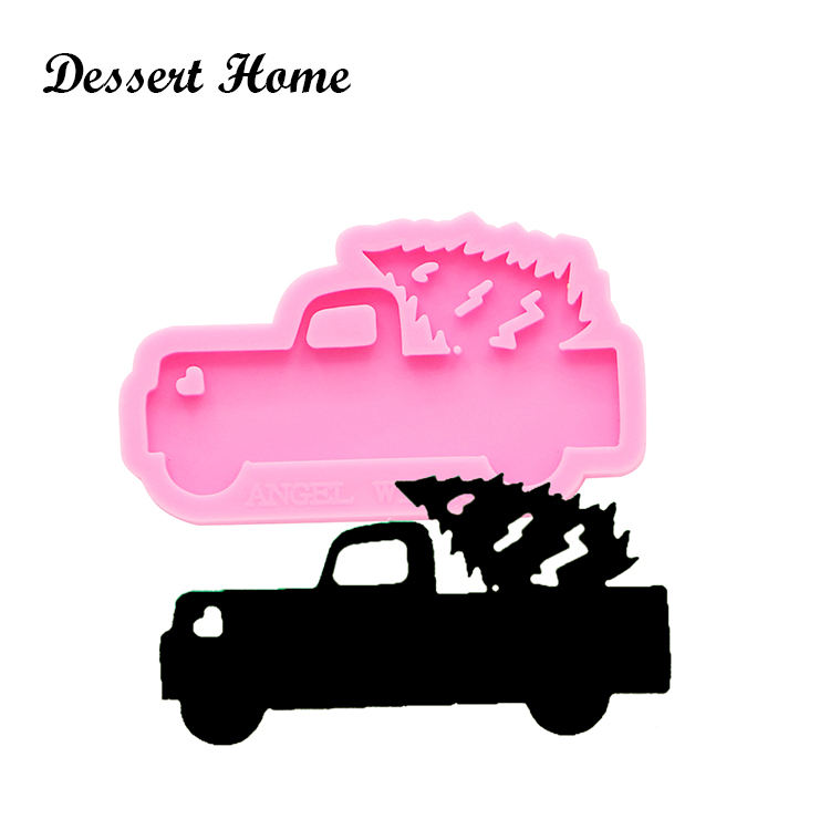 DY0148 Shiny Truck and tree keychains mold DIY epoxy resin car keychain silicone molds epoxy craft