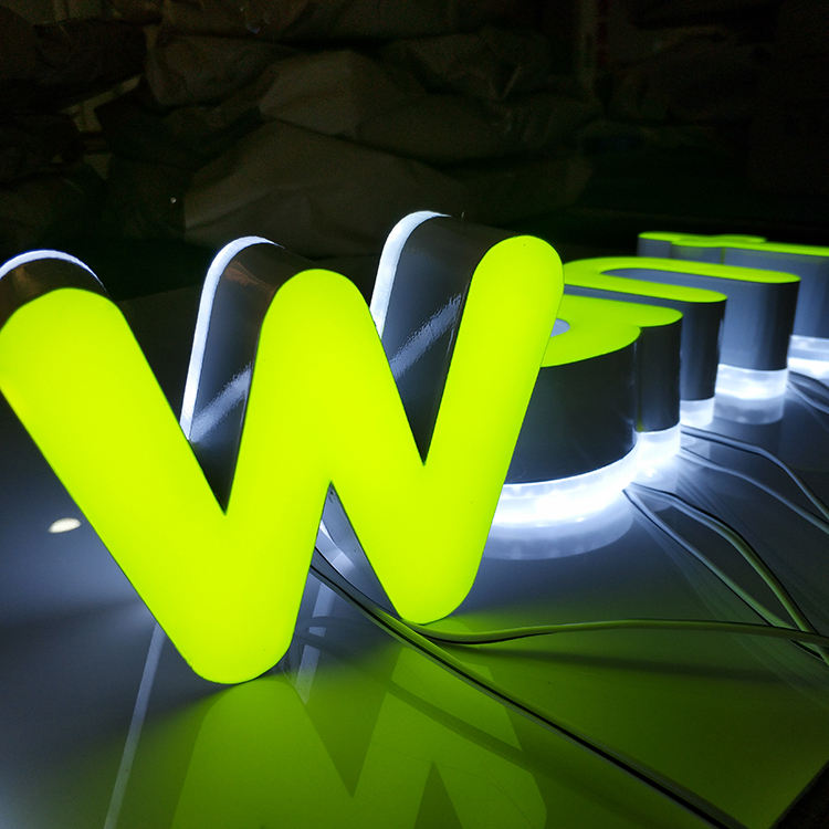 Custom outdoor uithangbord lichtgevende 3d Led letters rvs sign epoxyhars