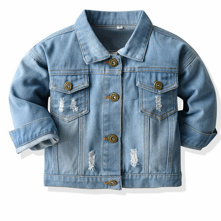 2020 Spring Autumn Kids Casual Jacket Girls Ripped Holes Jeans Coats Little Girls Denim Outerwear Costume 12M-6Y