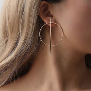 New Exaggerated Big Circle Earrings for Women Silver Gold Round Alloy Geometric hoop earrings huggie earrings
