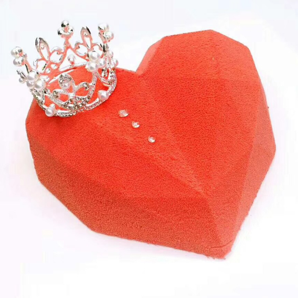 3D Diamond Silicon Heart Shaped Silicone Cake Mould