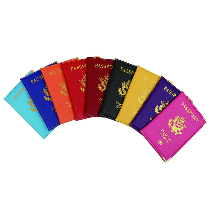 Wholesale Gold Foil Stamp United States of America Passport Holder Cover Mix 9 Color Debossed Passport Cover Customized Case PU