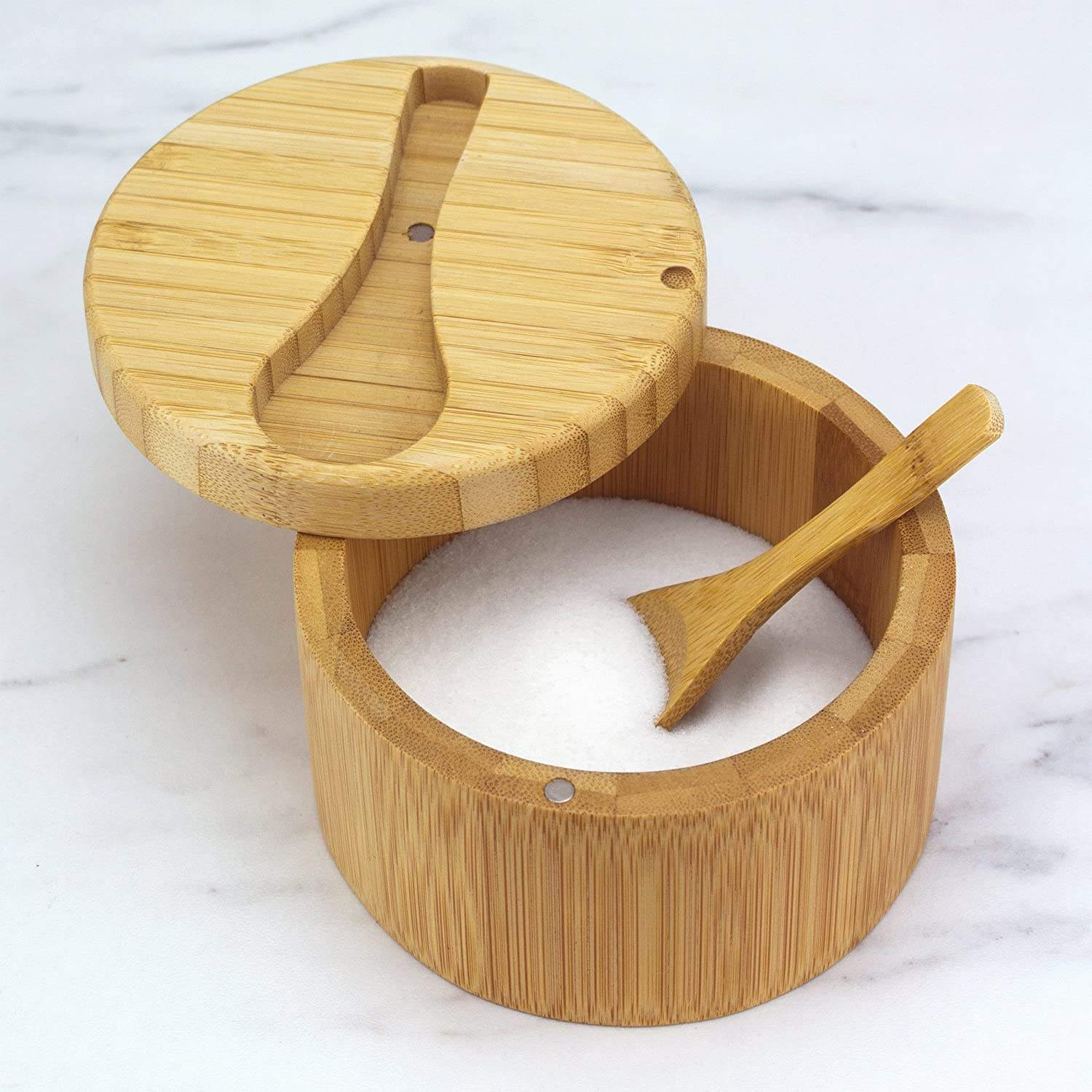 Wholesale Custom Swivel Lid Round Bamboo Salt Box With Spoon