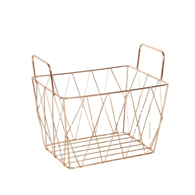 Wholesale Fashionable Portable Picnic Fruit Food Metal Baskets Rose Gold Wire Mesh Storage Basket with Handle