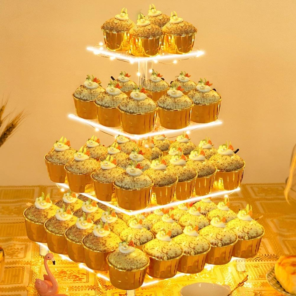 OurWarm Luxury 4 Tier Acrylic Birthday High Tea Cupcake Stand Holders Set Wedding Cake Stand With LED Light