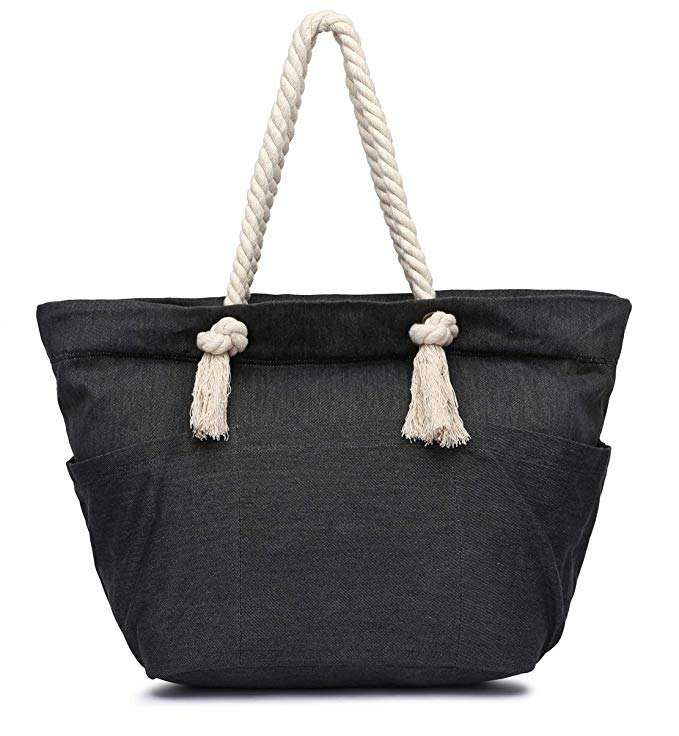 Casual ladies large size black canvas cotton beach tote bag with rope handle