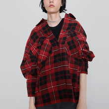 2019 New Fashion Plaid Flannel Lapel Collar Long Sleeve Casual Oversized Shirt Women