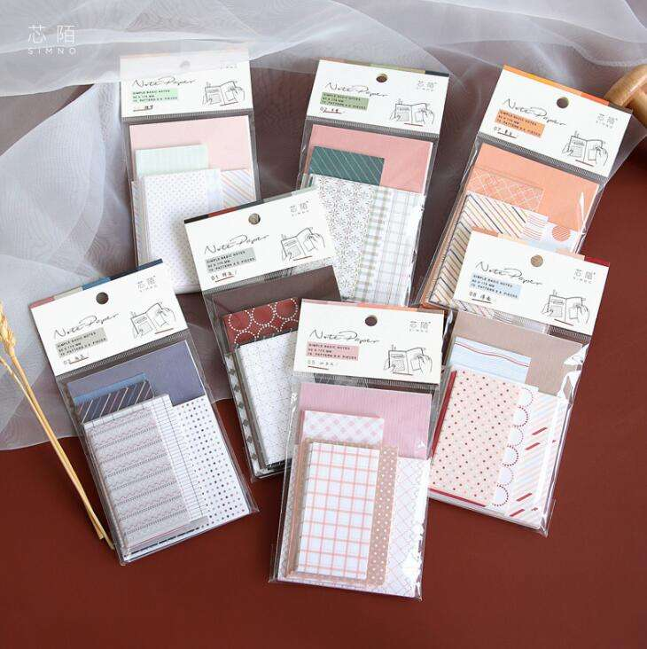 60pcs packing background notepad paper 5 size each pack