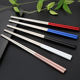 Food grade fancy custom logo sushi wedding gift metal titanium chopsticks
